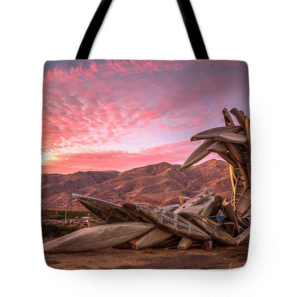 Canoe Art Sculpture With Pink Clouds Tote Bag by Brad Stinson