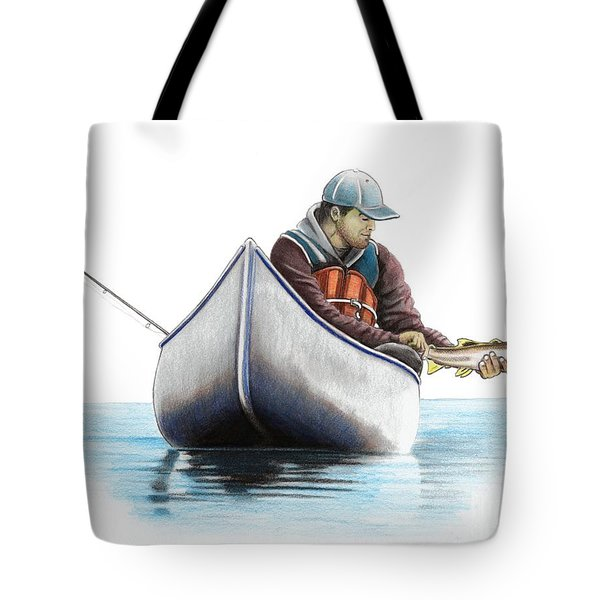 Canoe Fishing Tote Bag
