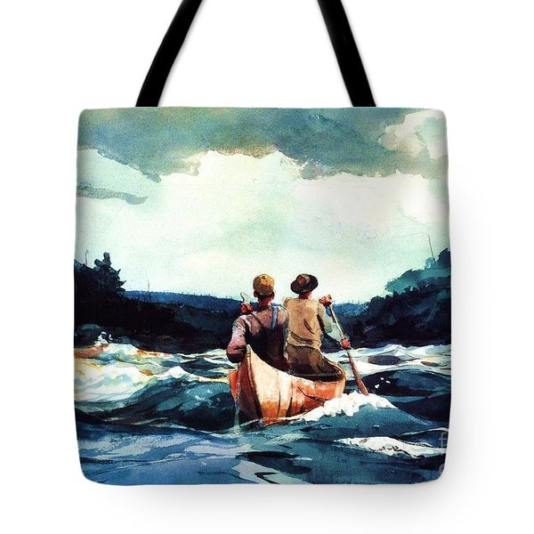 Canoe In The Rapids Tote Bag by Pg Reproductions