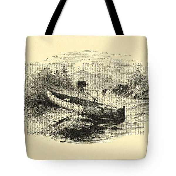 Canoe With Field Camera In Black And White Antique Illustration Tote Bag