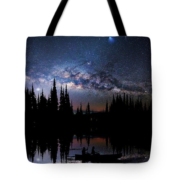 Canoeing - Milky Way - Night Scene Tote Bag