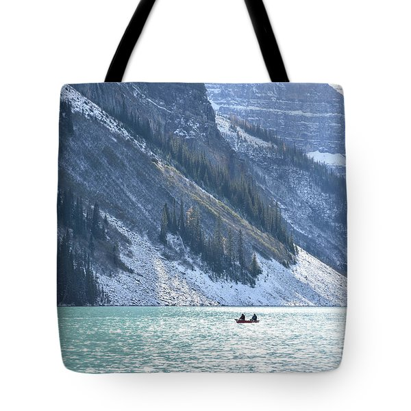 Canoeing On Lake Louise Tote Bag