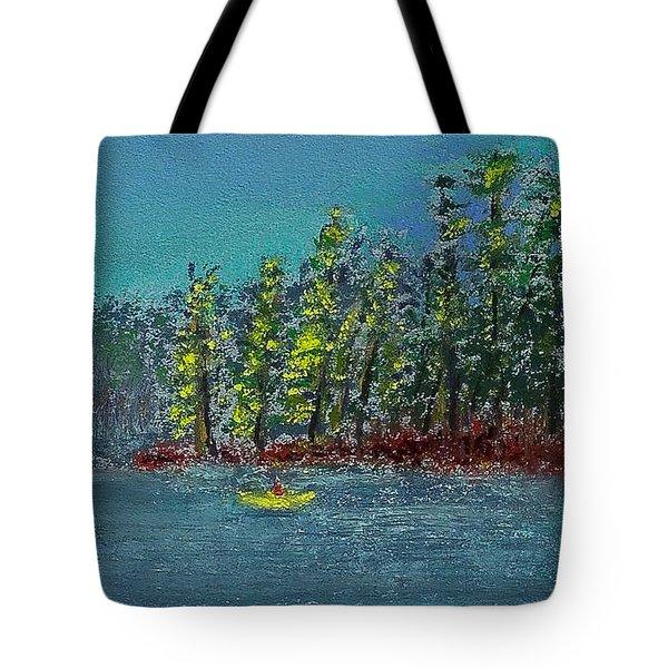 Canoeing The Lake Tote Bag