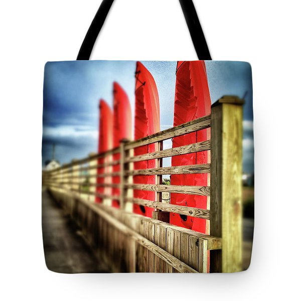 Canoes And Walkway, Surf City, North Carolina Tote Bag by John Pagliuca