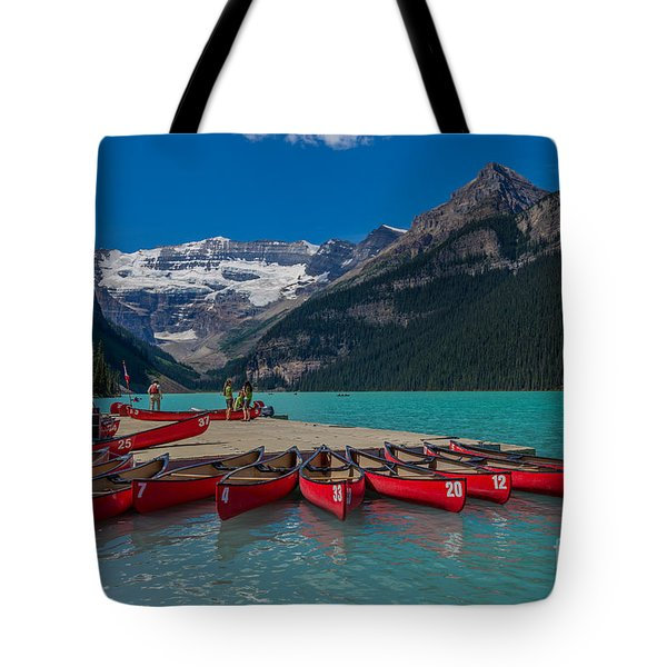Canoes On Lake Louise Tote Bag