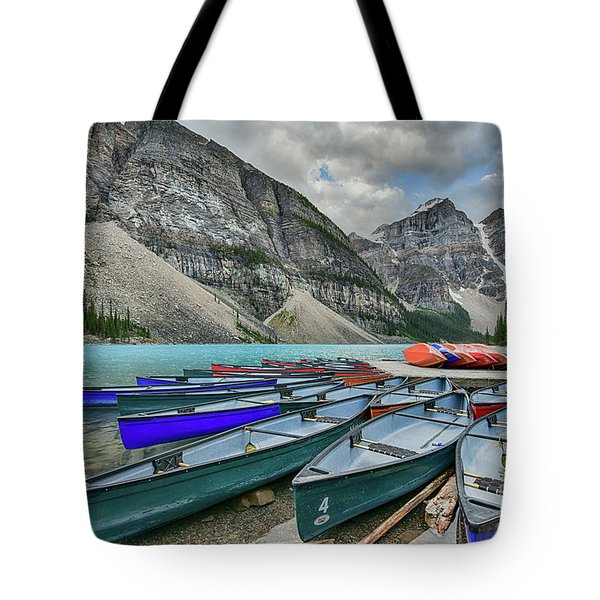 Canoes On Moraine Lake  Tote Bag