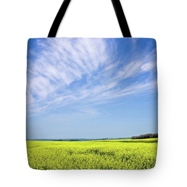 Canola Blue Tote Bag by Keith Armstrong