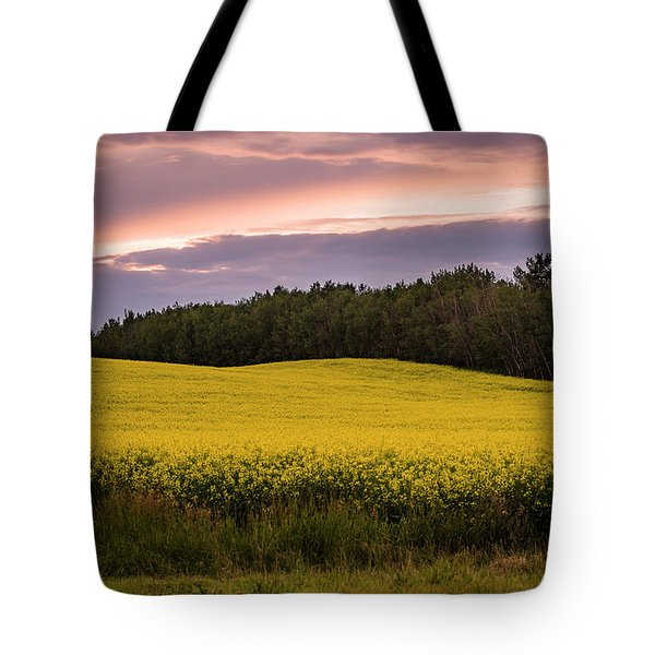 Tote Bag featuring the photograph Canola Crop Sunset by Darcy Michaelchuk