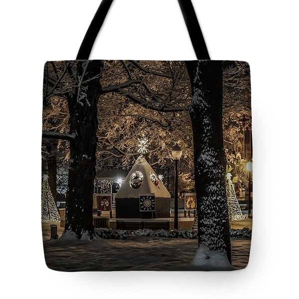 Canopy Of Christmas Lights Tote Bag