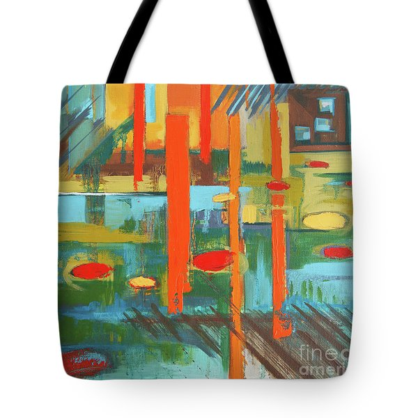 Tote Bag featuring the painting Cantaloupe Island by Erin Fickert-Rowland