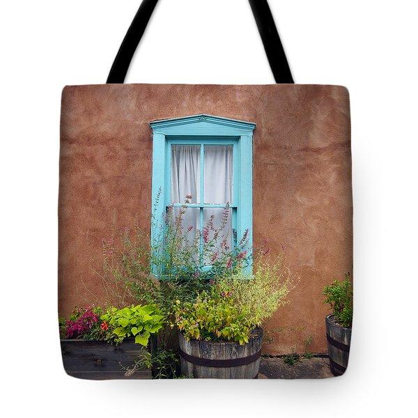 Tote Bag featuring the photograph Canyon Road Blue Santa Fe by Kurt Van Wagner