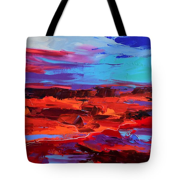Tote Bag featuring the painting Canyon At Dusk - Art By Elise Palmigiani by Elise Palmigiani