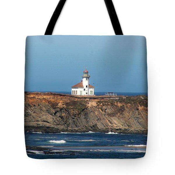 Tote Bag featuring the photograph Cape Arago Light Head by Dennis Bucklin