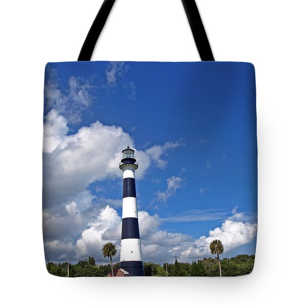 Cape Canaveral Light In Florida Tote Bag by Allan  Hughes
