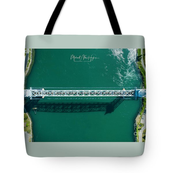 Tote Bag featuring the photograph Cape Cod Canal Railroad Bridge by Michael Hughes