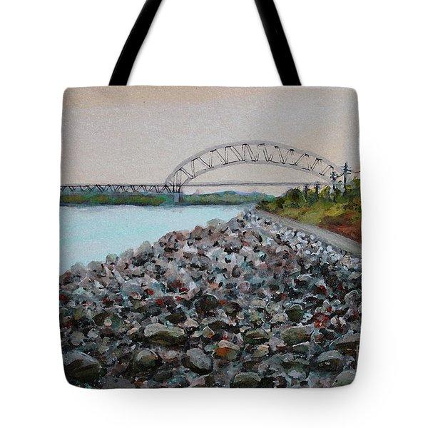 Cape Cod Canal To The Bourne Bridge Tote Bag by Rita Brown