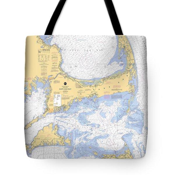 Cape Cod, Martha's Vineyard And Nantucket Nautical Chart Tote Bag