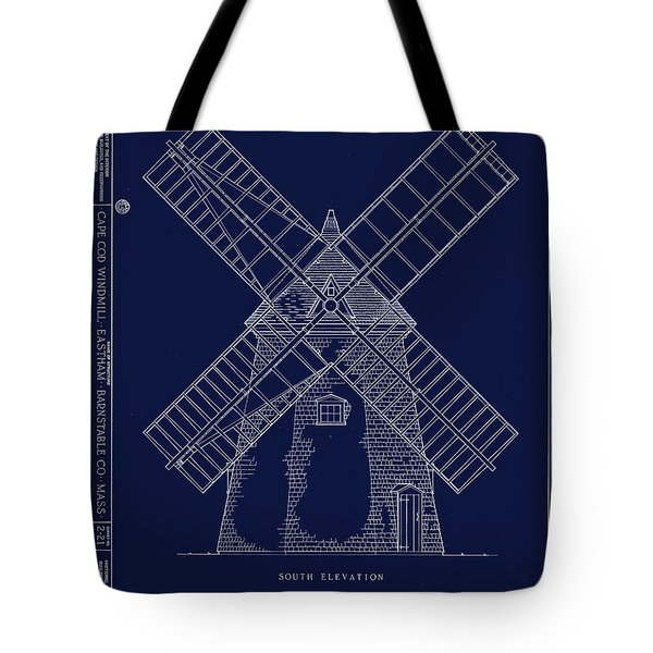 Tote Bag featuring the photograph Historic Cape Cod Windmill Blueprint by John Stephens