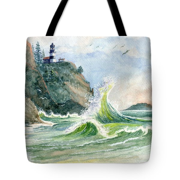 Tote Bag featuring the painting Cape Disappointment Lighthouse by Marilyn Smith