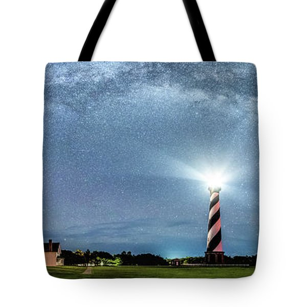 Cape Hatteras Light House Milky Way Panoramic Tote Bag