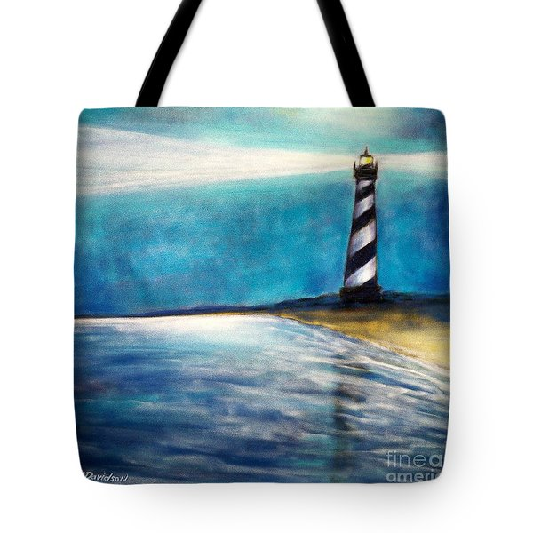 Tote Bag featuring the pastel Cape Hatteras Lighthouse Night Glow by Patricia L Davidson