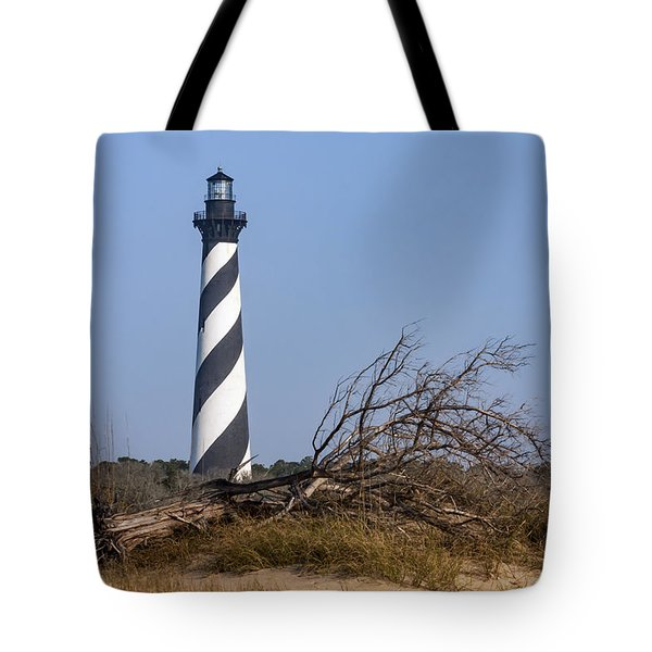 Cape Hatteras Lighthouse With Driftwood Tote Bag