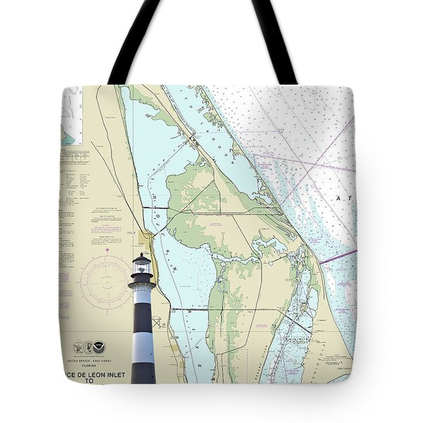 Cape Lighthouse On Chart Tote Bag