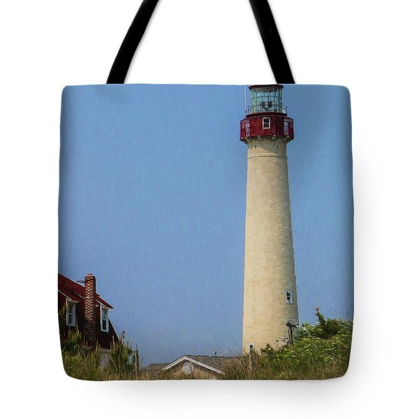 Tote Bag featuring the photograph Cape May Lighthouse Vertical by Teresa Wilson