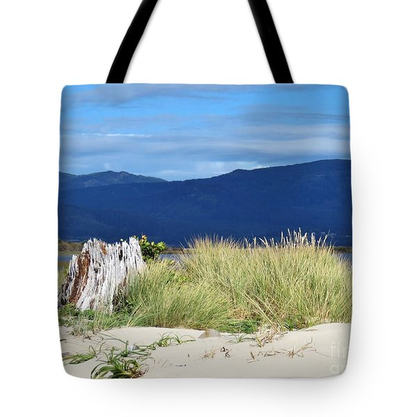 Sand Grass Mountains Sky Tote Bag by Michele Penner