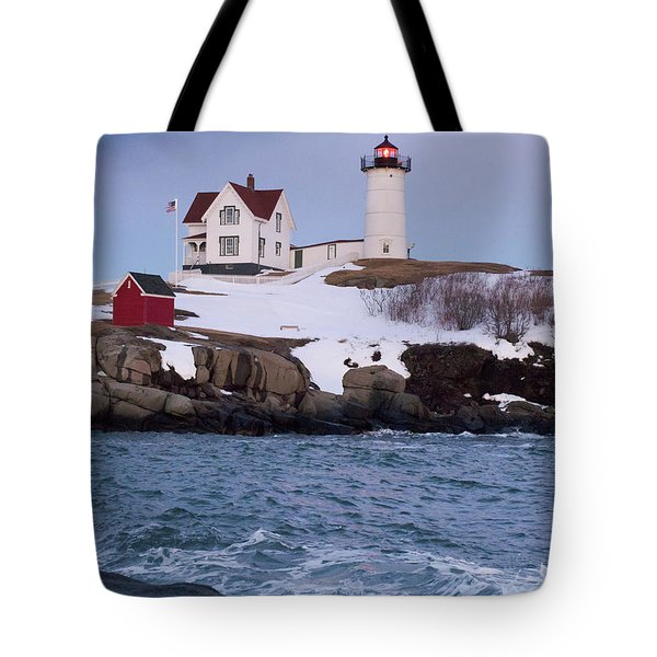 Cape Neddick Light At Dusk, York, Maine 21073 Tote Bag