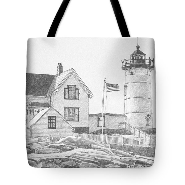 Cape Neddick Light House Drawing Tote Bag