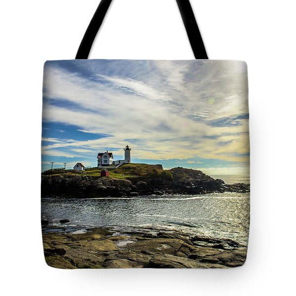 Cape Neddick Lighthouse Tote Bag by Sherman Perry