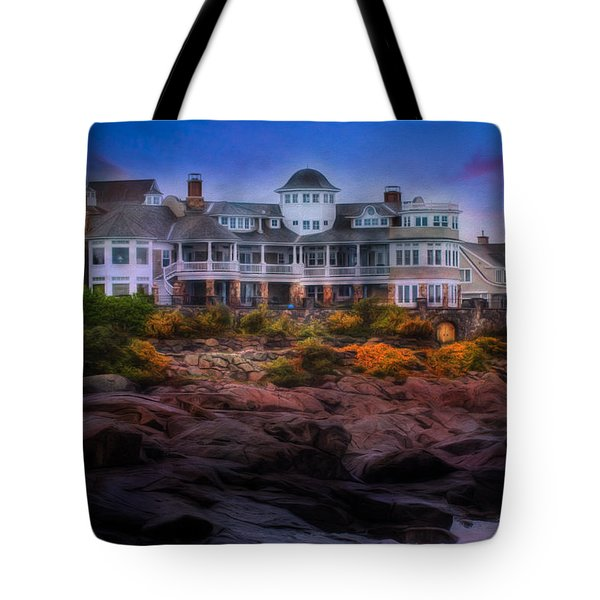 Tote Bag featuring the photograph Cape Neddick Maine Scenic Vista by Shelley Neff