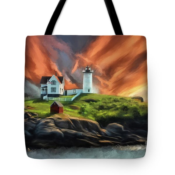 Tote Bag featuring the digital art Cape Neddick Nubble Lighthouse by Lois Bryan