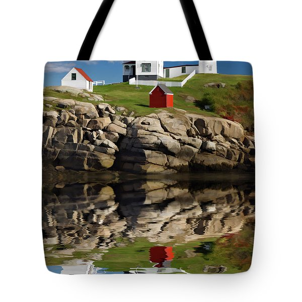 Cape Neddick Reflection - D003756a Tote Bag by Daniel Dempster
