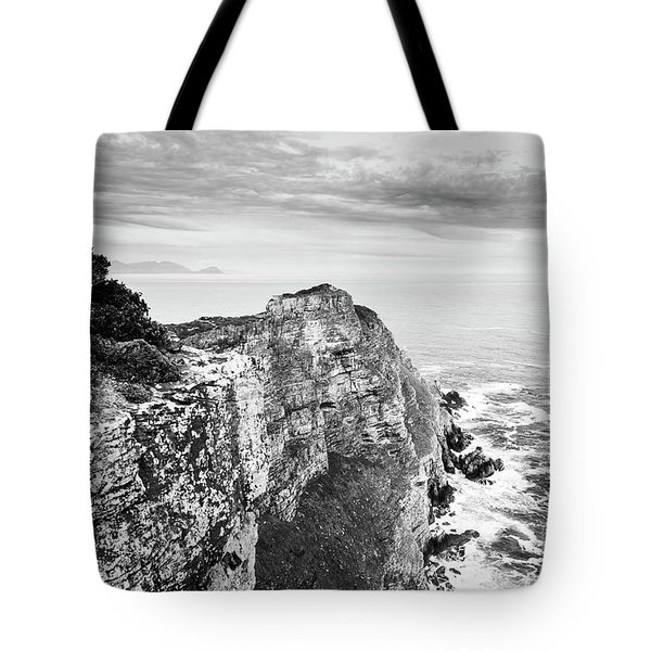 Tote Bag featuring the photograph Cape Of Good Hope South Africa Black And White by Tim Hester
