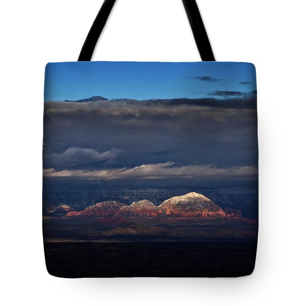 Capitol Butte In Sedona With Snow Tote Bag by Ron Chilston