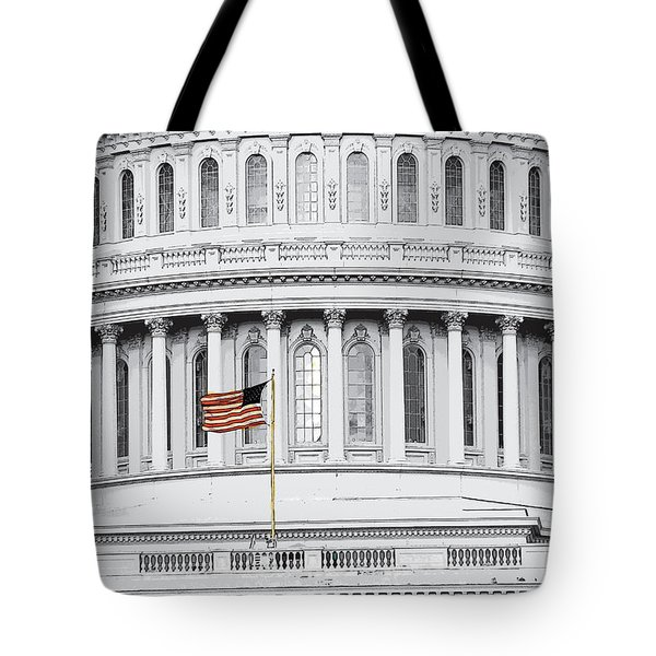 Tote Bag featuring the photograph Capitol Flag by John Schneider