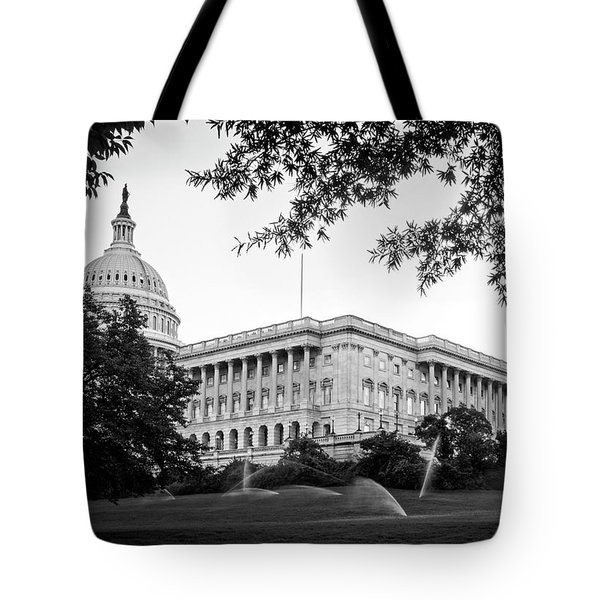 Capitol Lawn In Black And White Tote Bag by Greg Mimbs