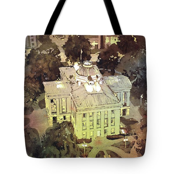 Tote Bag featuring the painting Capitol Of Stupid- Raleigh, Nc by Ryan Fox