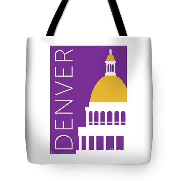 Tote Bag featuring the digital art Denver Capitol/purple by Sam Brennan