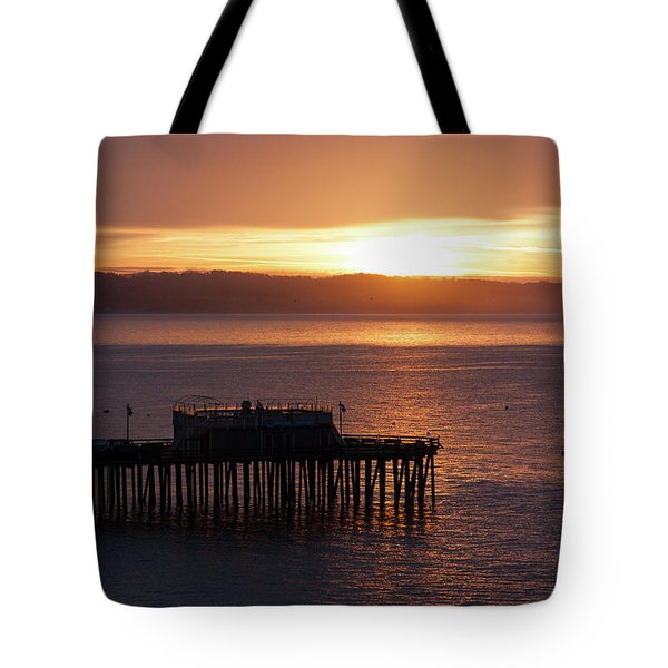 Tote Bag featuring the photograph Capitola Day Begins by Lora Lee Chapman