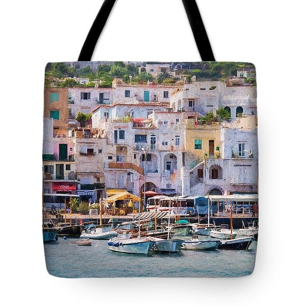 Capri Boat Harbor Tote Bag