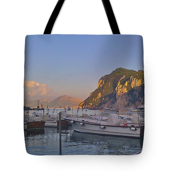 Capri- Harbor Boats Tote Bag