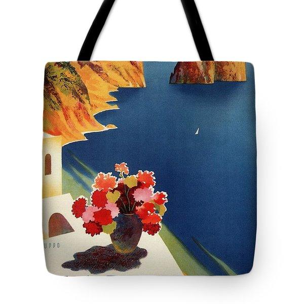 Capri Island, Bay Of Naples, Italy - Retro Travel Poster - Vintage Poster Tote Bag