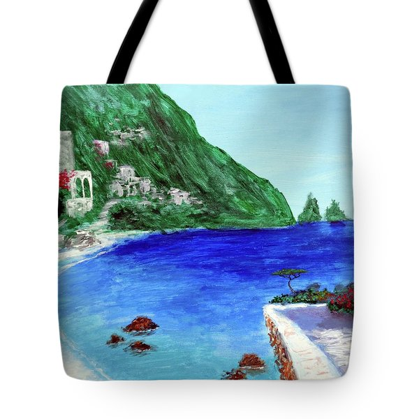 Tote Bag featuring the painting  Capri by Larry Cirigliano