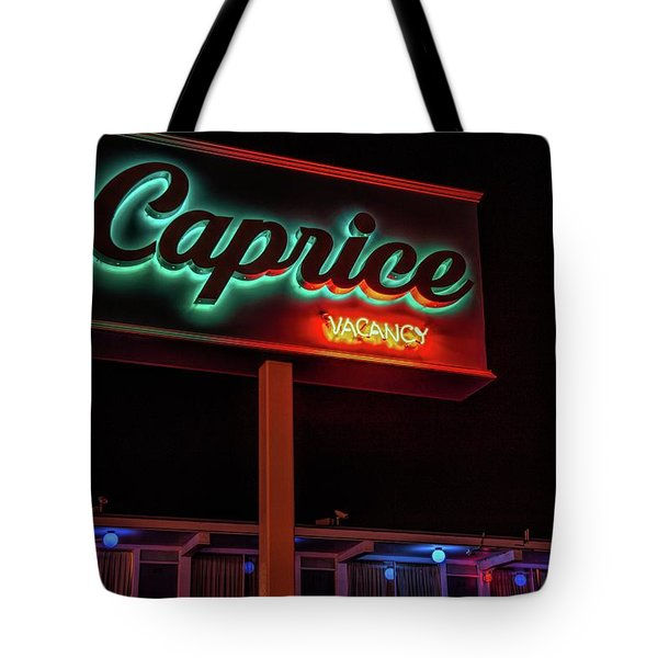 Tote Bag featuring the photograph Caprice Hotel Wildwood by Kristia Adams