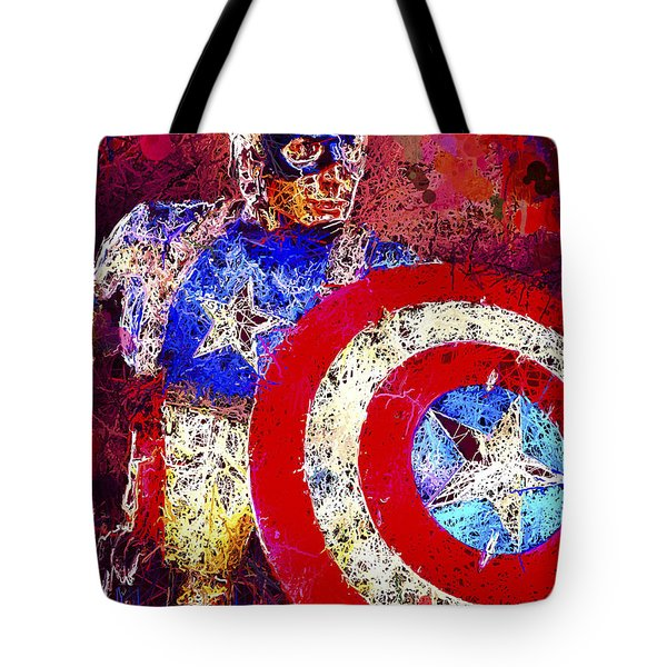 Tote Bag featuring the mixed media Captain America by Al Matra
