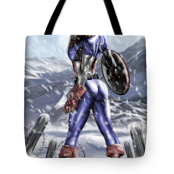 Tote Bag featuring the painting Captain America by Pete Tapang