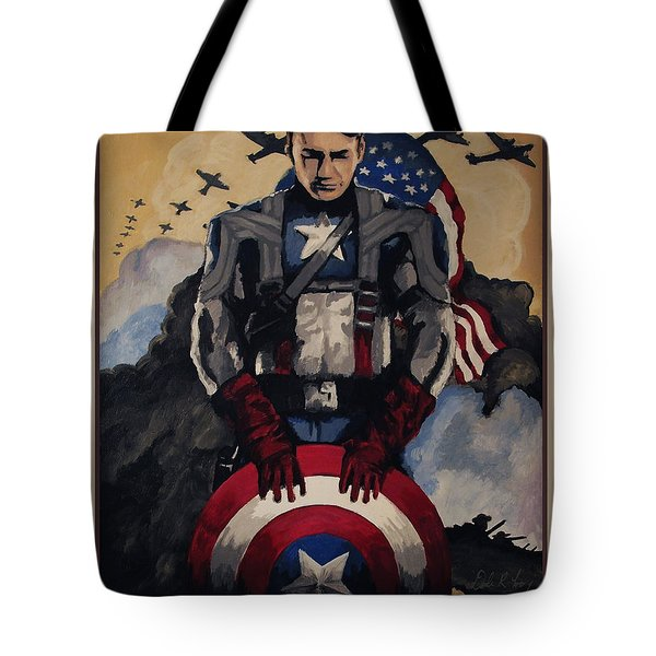 Tote Bag featuring the painting Captain America Recruiting Poster by Dale Loos Jr